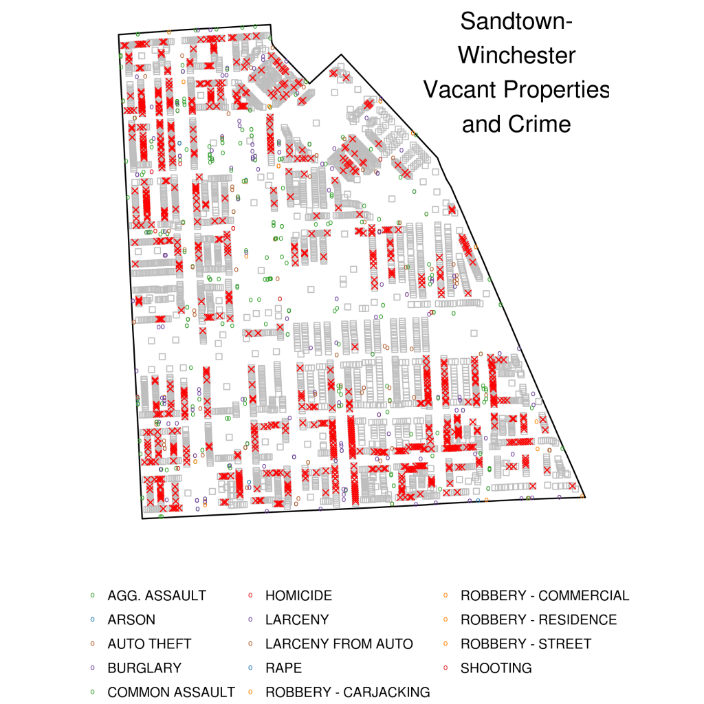 Visualizing Baltimore 3: Crime and Vacant Properties, Neighborhood Level